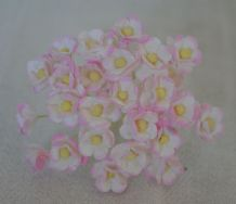 1.3cm LIGHT ROSY PINK DOUBLE-LAYERED Daisy Mulberry Paper Flowers